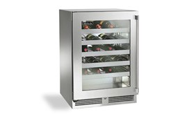 """Perlick 24"""" Signature Series Sottile Outdoor Wine Reserve With Stainless Steel  Glass Door -Hinge Left - HH24WO-3-3L"""