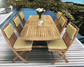 "ROYAL TEAK COLLECTION 60""/78"" Family Rectangular Extension Table & 6 Sailor Side Chairs (FER6 + SFCWA + CUM)"