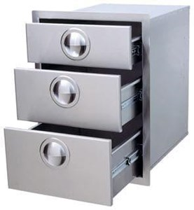 Luxor Slimline Stainless Steel Triple Drawer - AHT-B3D