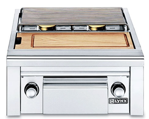 LYNX PROFESSIONAL Double Side Burner with integral prep center for built-in application LSB2PC-1