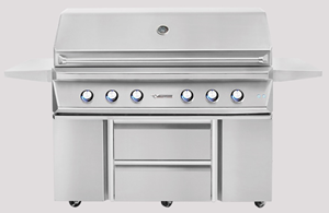 "TWIN EAGLES 54"" GRILL WITH ROTISSERIE AND SEAR ZONE ON CART BASE WITH STORAGE DRAWERS TEBQ54RS-C + TEGB54SD-B"