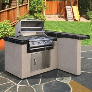 Cal Flame 4 ft. BBQ Island with 4 Burner Gas Grill