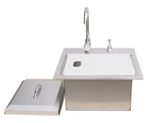 SUNSTONE Premium Drop In Sink W/ Hot/Cold water Faucet & Cutting Board #B-PS21