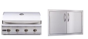 EXCALIBUR 32 INCH 4 BURNER GRILL and 30 INCH DOUBLE DOORS
