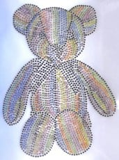 Multi Colour Teddy Bear Rhinestone Motif Iron On Hotfix Diamante Transfer