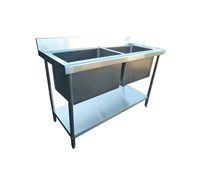 Sink 140cm commercial catering kitchen stainless steel double deep bowl EN92