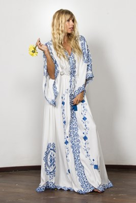 """CLEO"" Women's embroidered duster - Ivory with Royal Blue"