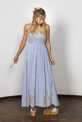 """Abbey Road"" maxi skirt / strapless dress - Chambray blue"