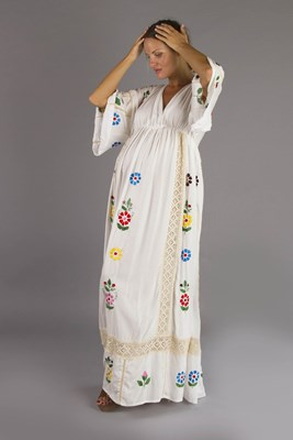 """Bermain"" Maternity Maxi Dress - Folk style embroidery with crochet"
