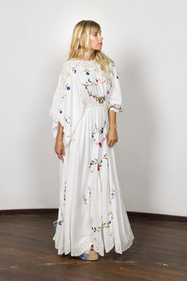 """Little Big Love"" Women's reversible gown - Ivory with multi embroidery"