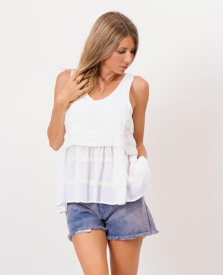 """Pretty Penny"" Nursing swing top - White with crochet"