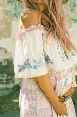"""Seeker Lover Keeper Nursing Dress"" Embroidered Nursing Maxi Dress - Boho Floral - Pale lilac"