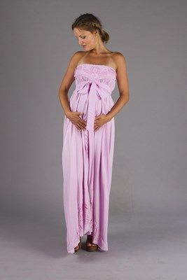 """Zippora"" Cut-Work Embroidery Maternity Maxi Dress - Lilac"