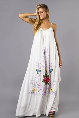 """Georgies Girl - Trapeze"" Women's embroidered maxi dress - White"