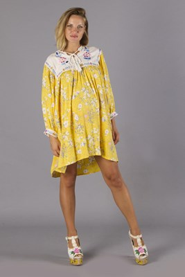"""Happy Little Tulip"" Sunflower Yellow - Floral embroidered maternity smock dress"