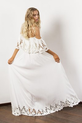 """Wonder Years"" Women's embroidered maxi dress - Ivory"