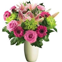 Pink Roses,Gerberas & Lilies, Bunches From $55