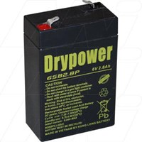 Drypower 6V 2.8Ah Sealed Lead Acid Battery. Replaces CP628, PS628