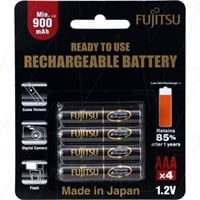 HR-4UTHB Fujitsu Ready to Use, Up to 500 Recharges Rechargeable AAA Battery (formerly Sanyo XX )