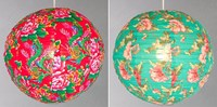 vintage floral print fabric globe lampshades