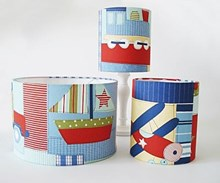 Planes trains & autos retro fabric lampshade for ceiling or bedside lights