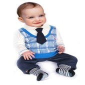 Formal Boy In Blue 1 Piece Romper/Onesie - Formal/Wedding Attire - Baby Boy Clothes