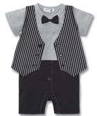 Tuxedo On The Run 1 Piece Romper - Formal/Wedding Attire - Baby Boy Clothes
