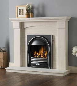 PureGlow Kingsford Portugese Limestone Fireplace with Gas fire