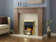 PureGlow Stanford Walnut Finish with Brass Electric Fire