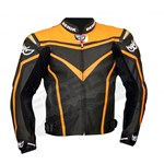 Berik Street CE Mens Leather Jacket - Black/Orange