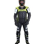BERIK MENS DEFENCE RACE LEATHER SUIT - Black/Fluro Yellow/White