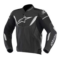 (CLEARANCE SALE) - Alpinestars GP R Non-Perforated Leather Jacket - Black/White