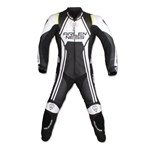 (CLEARANCE SALE) - Arlen Ness Velocity Race One Piece Mens Leather Suit - Black/White
