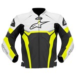 (CLEARANCE SALE) - Alpinestars Celer Leather Jacket - Black/White/Yellow