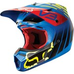 (CLEARANCE SALE) - FOX 2015 V3 SAVANT MOTOCROSS HELMET - BLUE