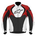 (CLEARANCE SALE) - Alpinestars Jaws Leather Jacket - Black/White/Red (perforated)