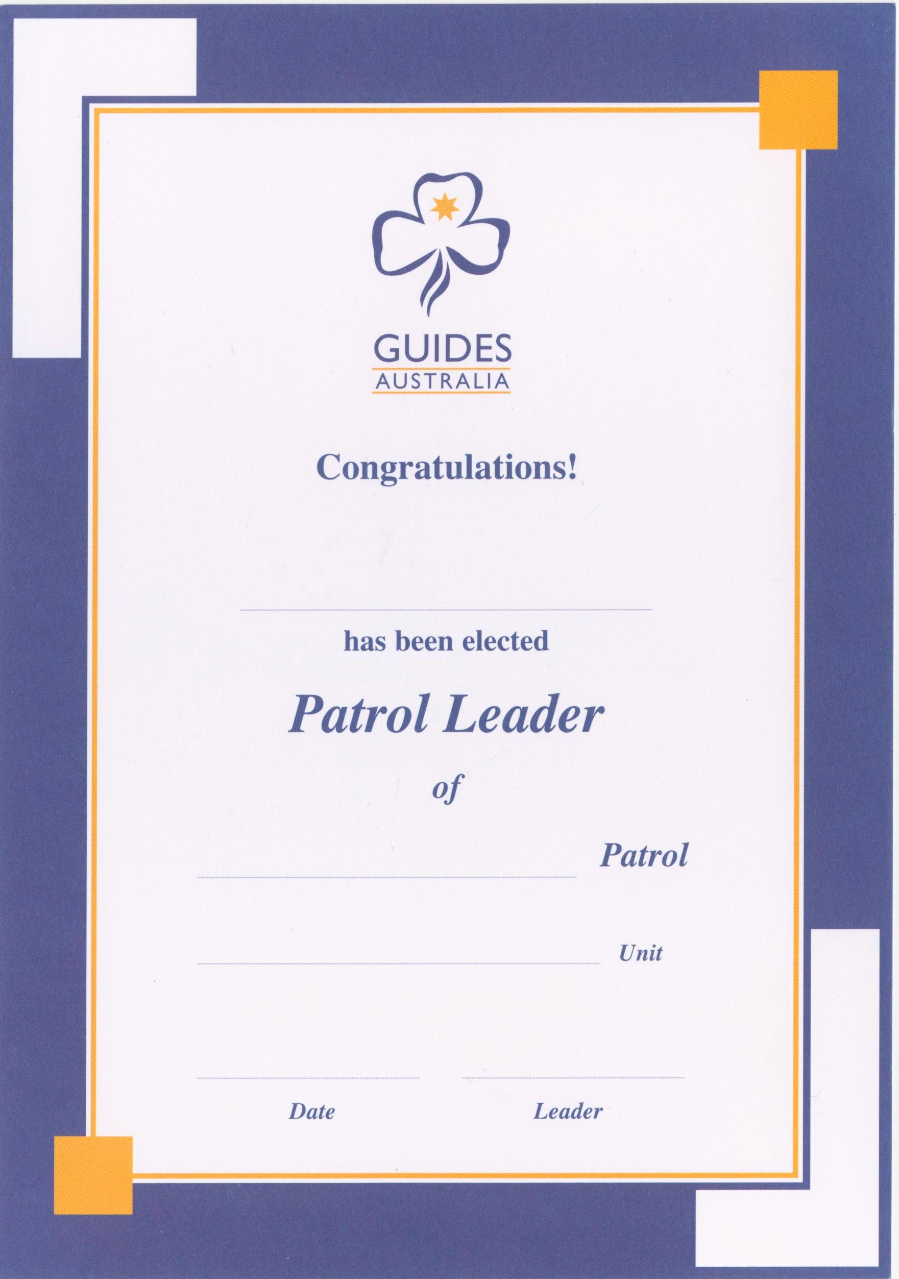 girl guides australia badge placement