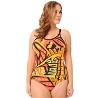 Abstract Orange Chlorine Resistant Plus Size Swimwear