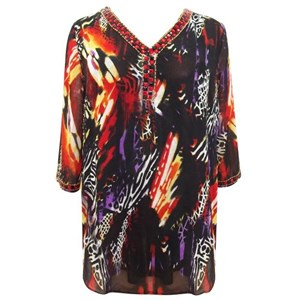 Black with Abstract Beaded Plus Size Top Cover Up
