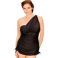 Black Two Piece Skirted Goddess Plus Size Bathers Set