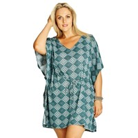 Blue Aqua Plus Size Stretch Knit Caftan Cover Up Tunic