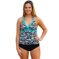 Aqua Black Two Piece Tankini Bathers Swimwear Set