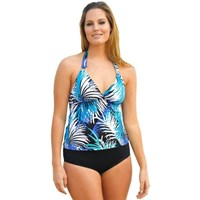 Blues Black Silver Foil Two Piece Tankini Cossie Set