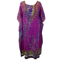 Purple Plus Size Tie Dye Long Caftan Cover Up Dress