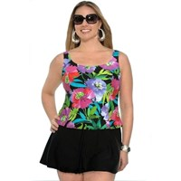 Tropical Top Faux Skirtini One Piece Black Swimdress