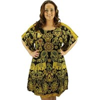 Black Plus Size Swimwear Cover Up Dress Tunic Long Top