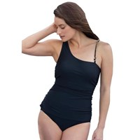 Black Chain Strap One Piece Faux Tankini Bathers