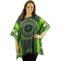 Green Long Top Cover Up Plus Size Rayon Dashiki Caftan