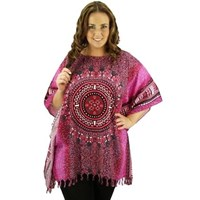 Pink Rayon Kaftan Dashiki Long Top Plus Size Cover Up