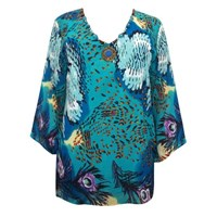 Vibrant Blues Peacock Inspired Plus Size Top Cover Up